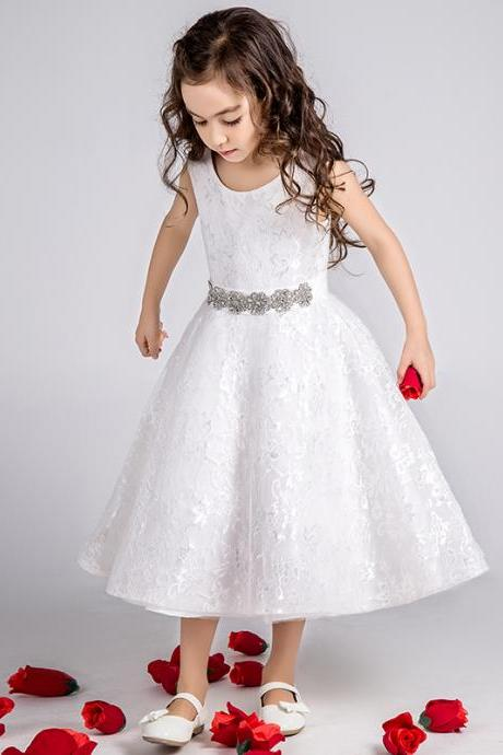 Flower Girls Dresses lace Beading Princess Girls First Communion Dress Party Dress A29