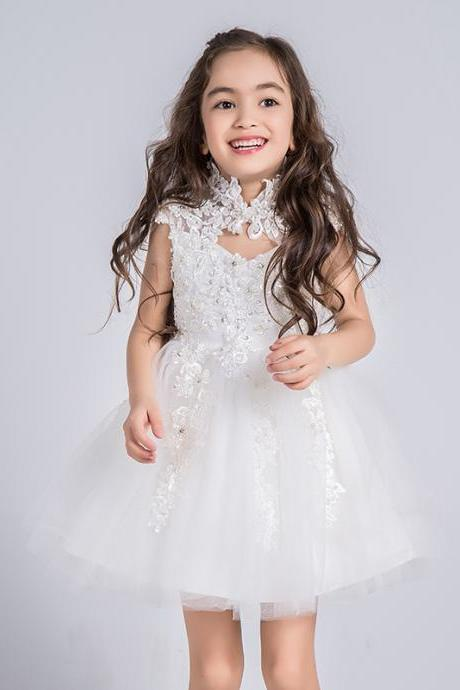 Flower Girls Dresses Lace Applique Kids Girls First Communion Dress Party Dress A30