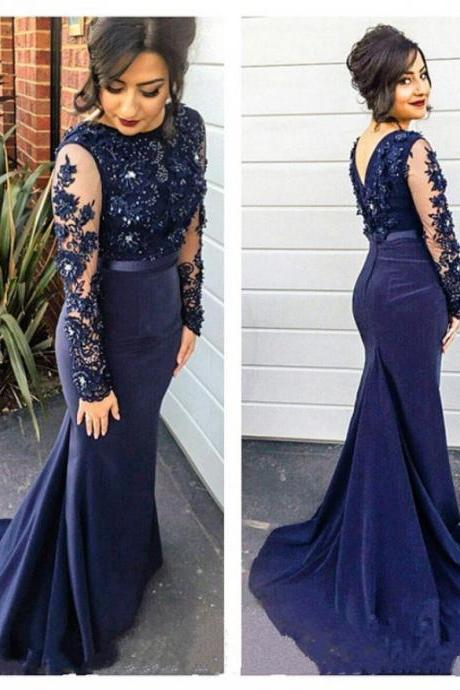 Fashion Dresses Sexy Applique Long Sleeve Evening Party Dress Sexy Prom Dress Bridesmaid Dress Wedding Dress BR89
