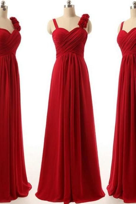 Sleeveless Ruched Chiffon A-line Floor-Length Prom Dress, Evening Dress, Bridesmaid Dress