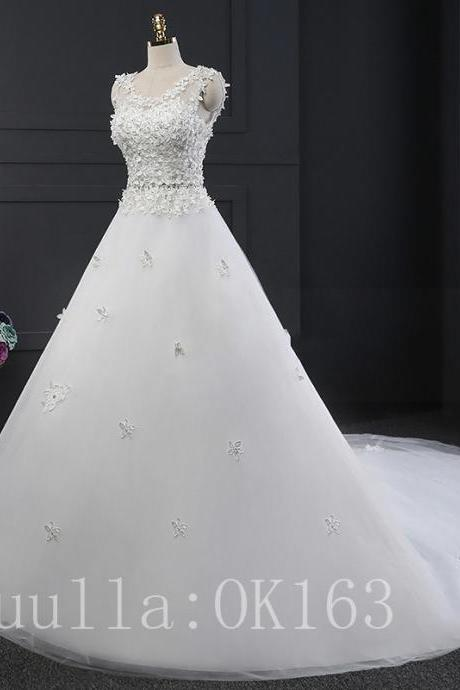 Women Fashion Applique White/Ivory Wedding Dress Bridal Gown Lace Dress Long Train Prom Dress KK6