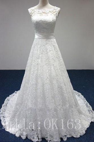 Women Fashion White/Ivory Wedding Dress Bridal Gown Sexy Lace Dress Long Train Prom Dress KK15