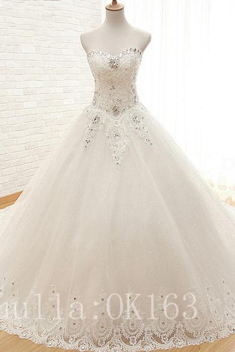 Women Fashion White/Ivory Strapless Beaded Wedding Dress Bridal Gown Sexy Lace Dress Long Train Prom Dress KK21