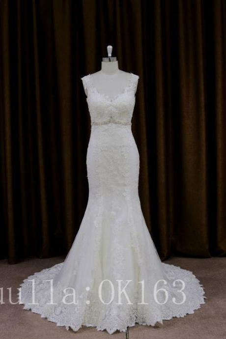 Women Fashion White/Ivory Lace Cap Shoulder Wedding Dress Bridal Gown Sexy Mermaid Dress Long Train Prom Dress KK45