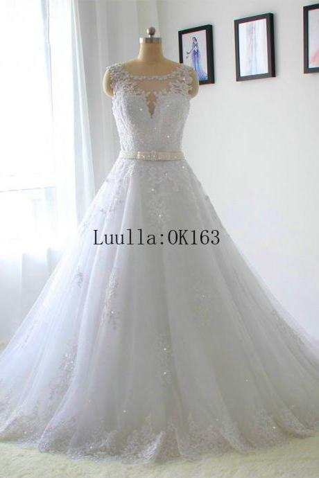 Women Fashion White/Ivory Lace A Line Wedding Dress Full Length Bridal Gown Prom Dress KK51