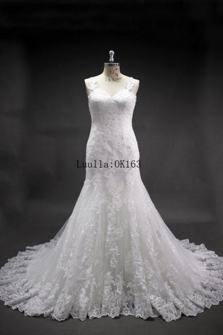 Women Fashion White/Ivory Lace Mermaid Applique Wedding Dress Full Length Bridal Gown Prom Dress KK73