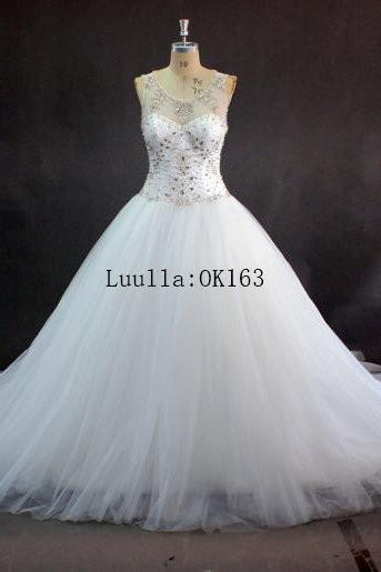 Women Fashion White/Ivory Beaded Applique Wedding Dress Full Length Bridal Gown Prom Dress KK78