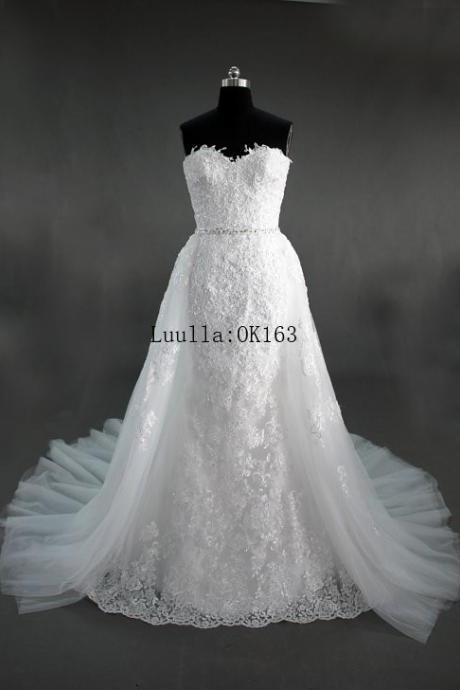 Women Fashion White/Ivory Lace Strapless A Line Wedding Dress Full Length Bridal Gown Prom Dress KK79