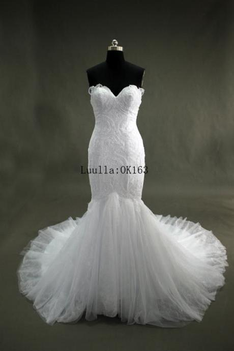 Women Fashion White/Ivory Tulle Strapless Mermaid Wedding Dress Full Length Bridal Gown Prom Dress KK82