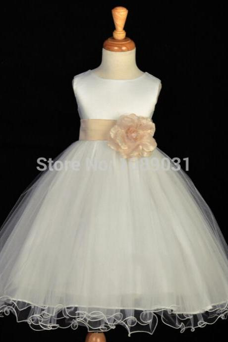 New Real Flower Girl Dresses with Sashes Party Pageant Communion Dress Little Girl Kids/Children Princess Dress for Wedding Kids29