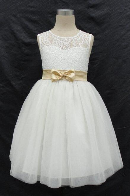 Flower Girl Dresses with Bow Keyhole Back Party Pageant Dress for Little Girls Kids/Children Communion Dress Kids41