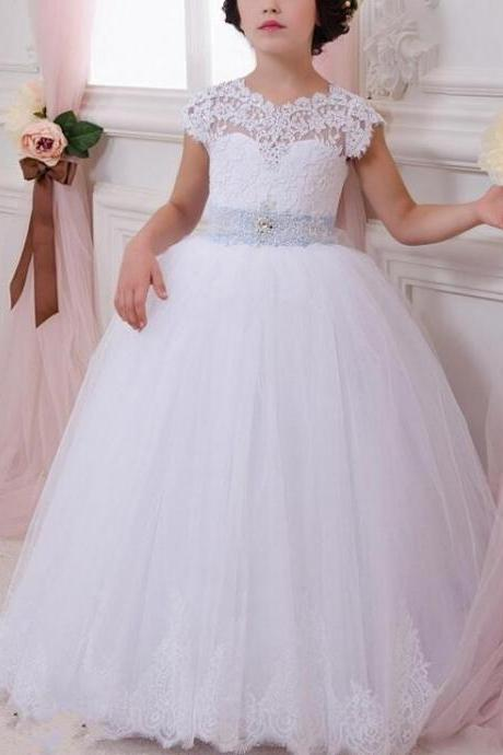 Flower Girl Dresses with Bow Ball Gown Party Pageant Communion Dress Little Girls Kids/Children Dress for Wedding Kids56
