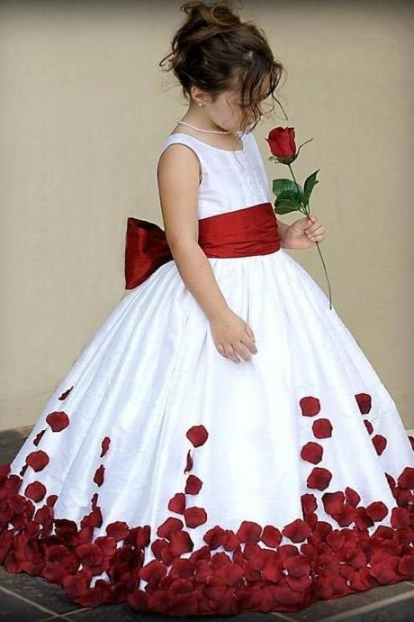 Pretty Flower Girl Dresses Red And White Bow Knot Satin Ball Gown Little Girl Party Holy Communion Dresses Pageant Gowns Kids59