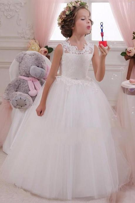 White Lace Flower Girls Dresses For Weddings Junior Bridesmaid Kids Long Bow Cheap Backless Toddler Little Girl Pageant Kids66