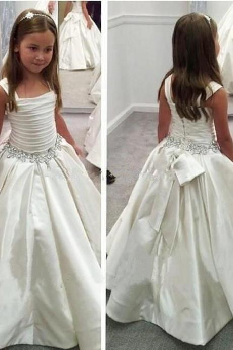White Straps Flower Girl Dress With Beaded Waist First Communion Dresses For Girls Pageant Dresses Kids73