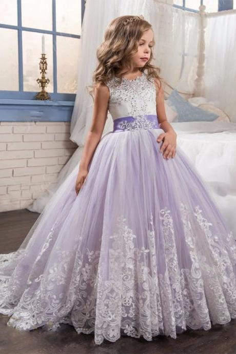 2017 Purple Ball Gown Tulle Flower Girl Dresses With Bow Ball Gown First Communion Dress for Girls Little Girls Pageant Dresses Kids89