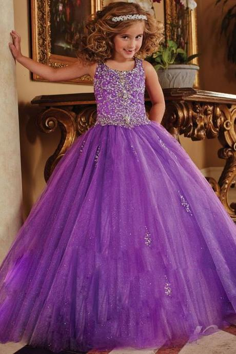 Ball Gown Flower Girl Dresses Scoop Sleeveless Beaded Sequins Purple Tulle Evening Gowns Kids First Communion Dresses Kids99
