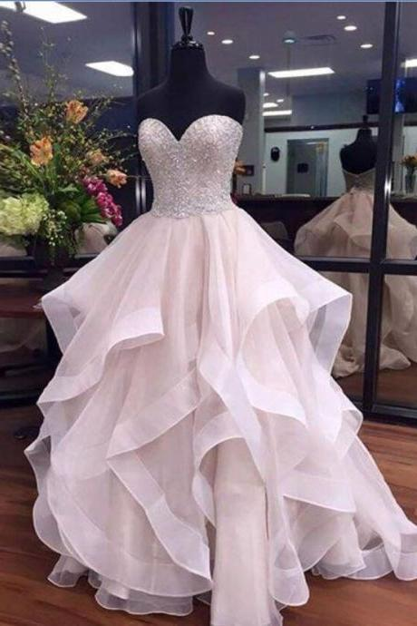 Sweetheart Ball Gown Long Prom Dresses For Teens,Beaded Evening Dresses,Sparkly Prom Dresses,Gorgeous Party Dresses,Cute Dresses,Princess Dresses JA11