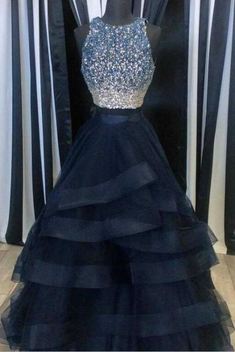 Pink Tulle Princess Prom Gown, A Line Formal Gown,Low Back Prom O-neck Two Pieces Tulle Prom Dresses,Navy Blue Prom Dresses,Beaded Dresses,Sparkly Party Prom Dresses,Formal Evening DressesWith Lace Top JA12