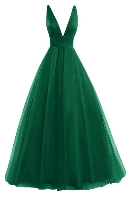 Deep V Neck Prom Dress, Formal Evening Gowns, Green Prom Dress, Sexy Back Prom Dress, Simple Prom Dress, Cheap Prom Dress, Woman Dresses JA49