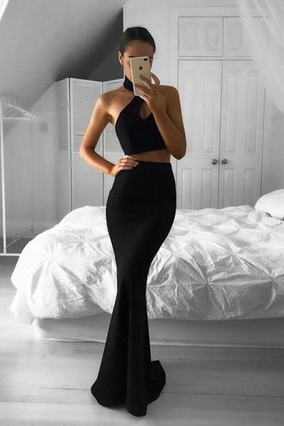 Black Halter Two Piece Formal Gown, Backless Mermaid Prom Dress, Party Dress JA59