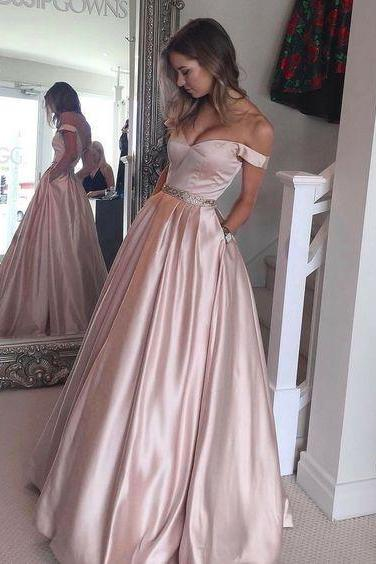 Pink Off The Shoulder Prom Dress, A Line Satin Formal Gown With Pockets JA64