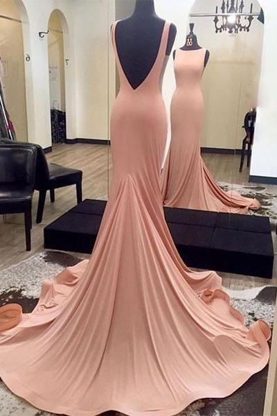 Gorgeous Blush Pink Backless Formal Gown, Jersey Fitted Pageant Gown, Long Dress With Sweep Train JA68