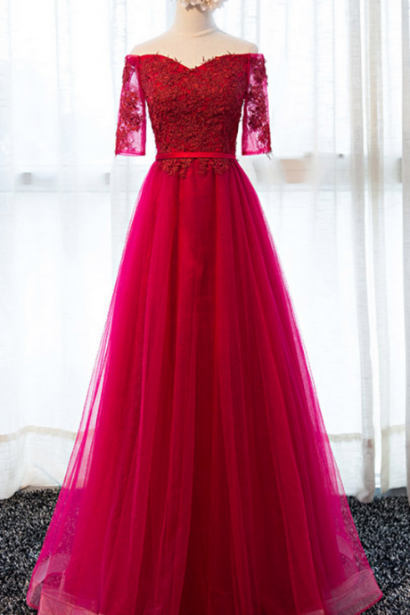 Fuchsia Evening Dress Long Short Sleeve Prom Party Dresses Formal Gown Cheap JA71