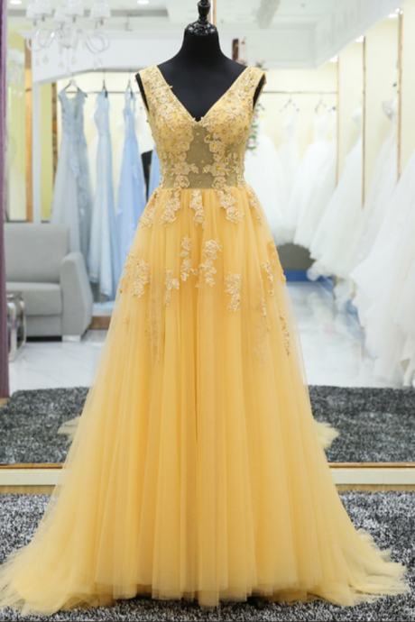 V Neck Lace Applique A Line Lace Up Back Yellow Long Prom Gown Formal Evening Party Dress JA72