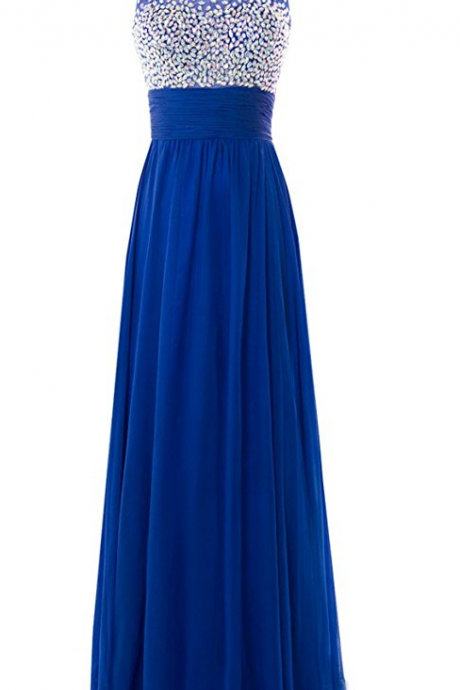 Long Chiffon Evening Gown with Stunning Gemstones Prom Dress Evening Dress Party Dress JA86