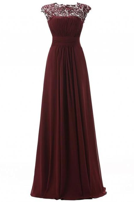 Sleeveless Lace Chiffon A-line Simple Prom Dress,Evening Dresses JA87