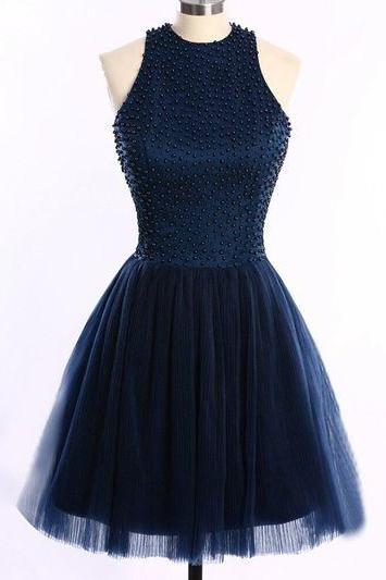 Beads Halter A-line Tulle Mini Prom Homecoming Graduation Party Dress JA94
