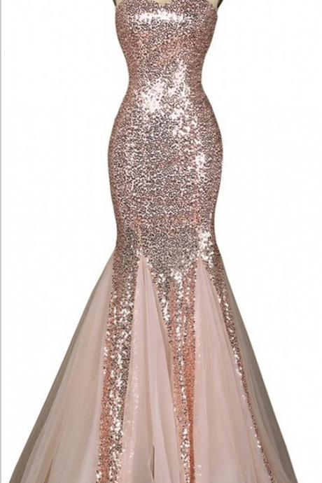 Sequinned Floor Length Tulle Mermaid Evening Dress Featuring prom Dress Party Dress JA95