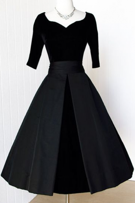 Black Velvet Prom Gowns, Homecoming Dress Evening Dress Party Dress JA99