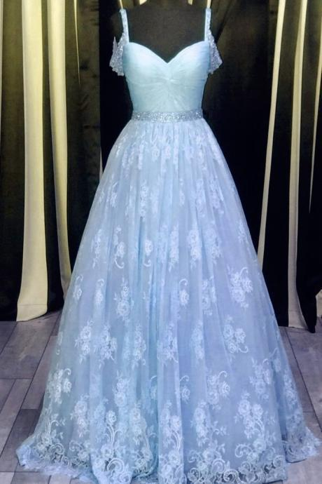Light blue lace V-neck A-line long prom dress,graduation dresses with straps JA149