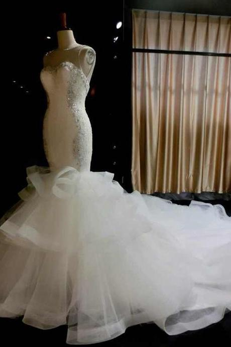 Sleeveless Sheer Sweetheart Mermaid Wedding Dress with Tiered Ruffle Skirt and Lace-Up Back