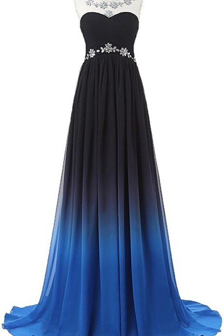 Gradient Color Prom Evening Dress Beaded Ball Gown prom dresses JA211