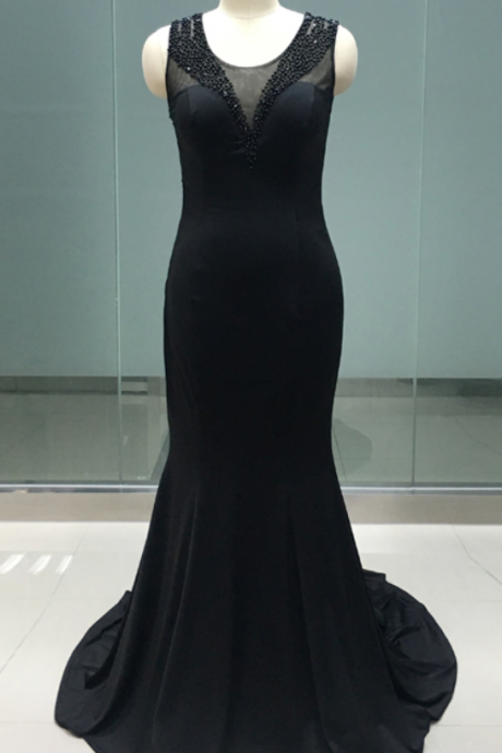 Real Photo Spandex Black Evening Dress Mermaid Sheer Back Beading Girl Prom Party Dress JA212