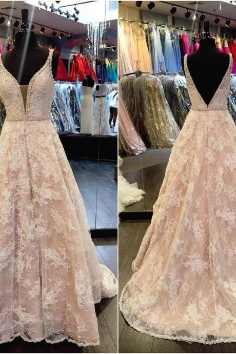Elegant v neck champagne lace prom dresses ball gowns 2017 formal evening gowns JA215
