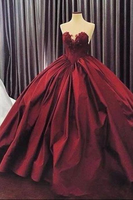 Burgundy Quinceanera Dresses 2017, Puffy Ball Gown Lace Quinceanera Dress For 15 Year, Formal Burgundy 16 Year Prom Dress, Sexy Sweetheart Corest Back Long Burgundy Party Dress, Floor Length Burgundy Appliques Party Dress 2017 JA221
