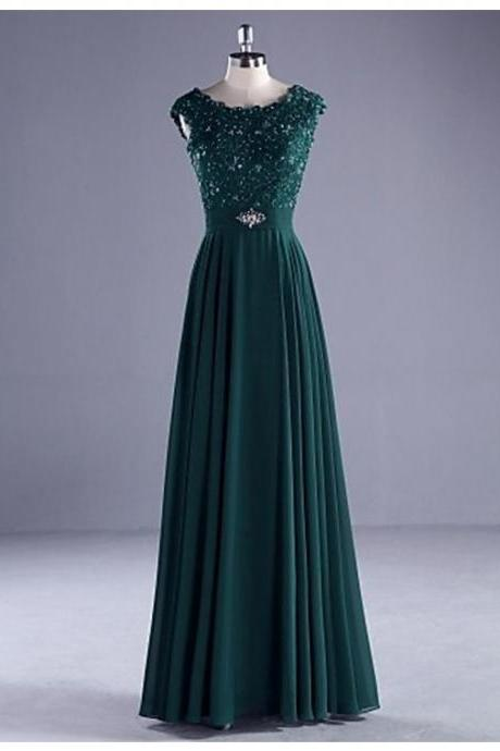 Charming Hunter Crew Neck Sleeveless Floor Length Pleats Prom Dress with Beading Lace JA231
