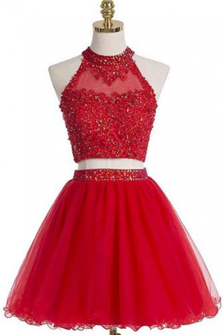 Short Graduation Dress,Two Pieces Graduation Dresses,Red Homecoming Dress, High Neck Homecoming Dress,Graduation Dress , Homecoming Dress ,Prom Dress for Teens JA235