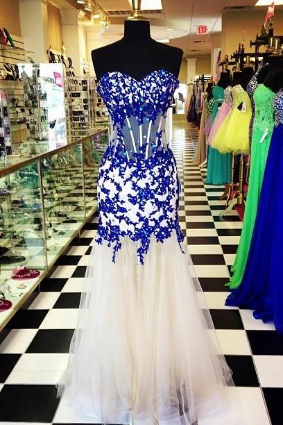Prom Dress, Sweetheart Royal Blue Prom Dress,Beaded Applique Prom Dresses,High Quality Graduation Dresses,Wedding Guest Prom Gowns, Formal Occasion Dresses,Formal Dress JA250