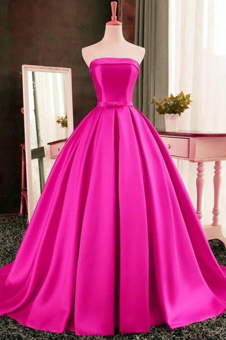 A-Line Satin Prom Dress,Strapless Prom Dresses,High Quality Graduation Dresses,Wedding Guest Prom Gowns, Formal Occasion Dresses,Formal Dress JA252