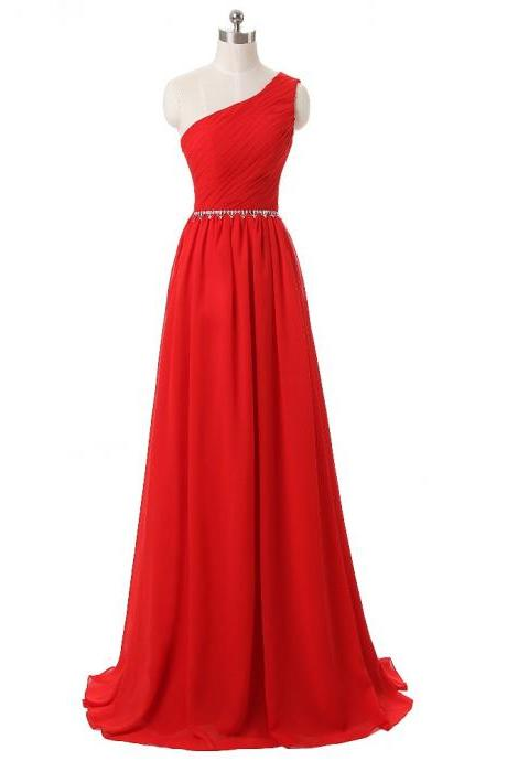 Elegant One-Shoulder 2017 New Evening Dresses Sexy Floor Length Sleeveless Chiffon Vestido De Festa Long Evening Gown JA255
