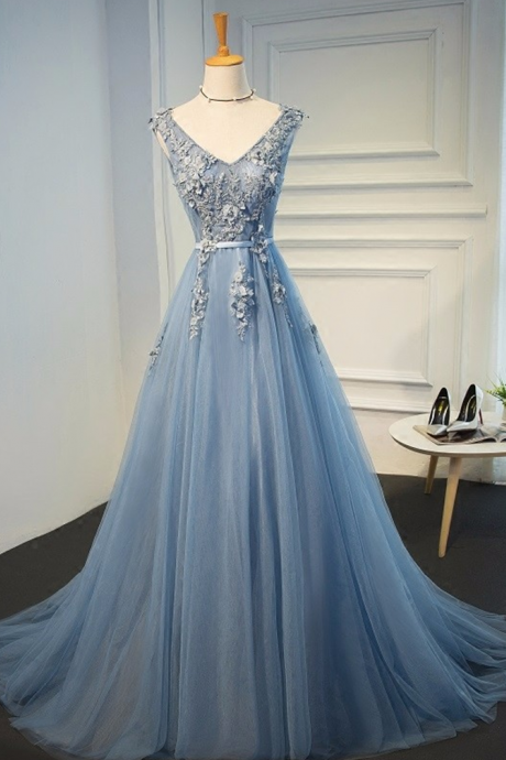Blue Evening Gowns Dresses 2017 Plus Size Tulle Appliques Long Formal Dresses V Neck Lace Up Sleeveless Robe De Soiree JA260