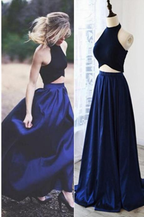 Royal Blue Silk Like Satin Long Two Pieces Halter New Arrived Prom Dress Evening Dress Party Dress LF21