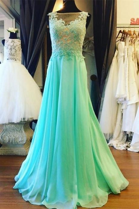 Long Chiffon Sage Prom Dress Applique Beading Sleeveless Prom Dress Evening Dress Party Dress LF24