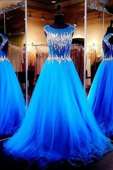 Royal Blue Crystals Luxury Prom Dresses Capped Sleeves Sheer Hollow Back A-line Pageant Dresses LF38