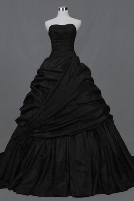 New Arrival Lace Up Sleeveless Taffeta Strapless Taffeta Court Train A-Line Black Wedding Dresses Hot Sale C11